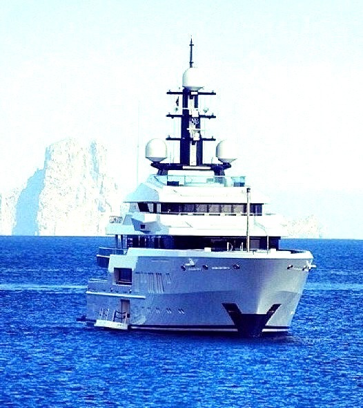 Super Yacht on Crystal Blue Water
