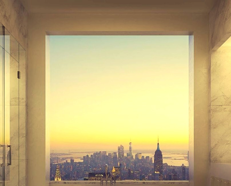 Luxury Bathroom and Bathtub with NYC Skyline view