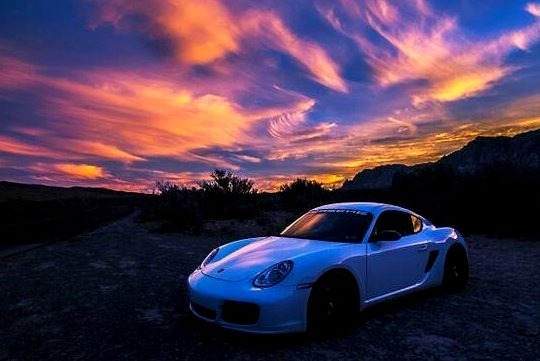 White Porsche On The Mountains